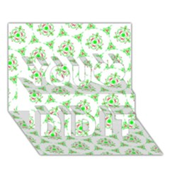 Sweet Doodle Pattern Green You Did It 3D Greeting Card (7x5)