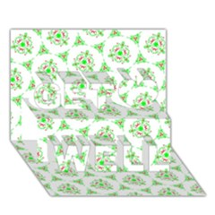 Sweet Doodle Pattern Green Get Well 3d Greeting Card (7x5)
