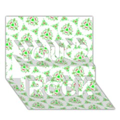 Sweet Doodle Pattern Green You Rock 3D Greeting Card (7x5)