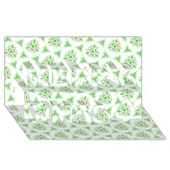 Sweet Doodle Pattern Green Merry Xmas 3d Greeting Card (8x4)