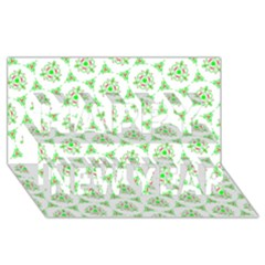 Sweet Doodle Pattern Green Happy New Year 3d Greeting Card (8x4)