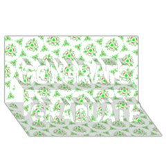 Sweet Doodle Pattern Green Congrats Graduate 3D Greeting Card (8x4)