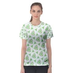Sweet Doodle Pattern Green Women s Sport Mesh Tees