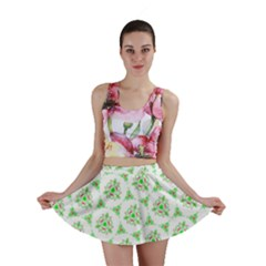 Sweet Doodle Pattern Green Mini Skirts