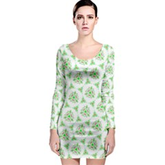 Sweet Doodle Pattern Green Long Sleeve Bodycon Dresses