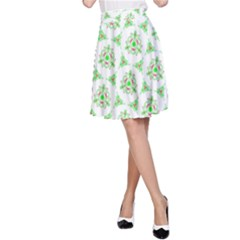 Sweet Doodle Pattern Green A-Line Skirts