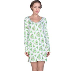 Sweet Doodle Pattern Green Long Sleeve Nightdresses