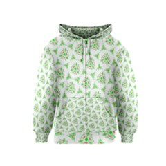 Sweet Doodle Pattern Green Kids Zipper Hoodies