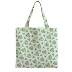 Sweet Doodle Pattern Green Zipper Grocery Tote Bags