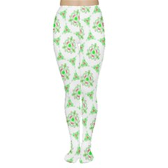 Sweet Doodle Pattern Green Women s Tights