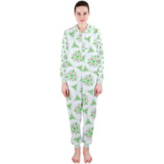Sweet Doodle Pattern Green Hooded Jumpsuit (Ladies)