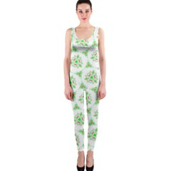 Sweet Doodle Pattern Green OnePiece Catsuits
