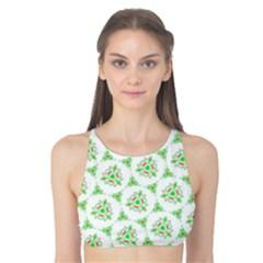 Sweet Doodle Pattern Green Tank Bikini Top