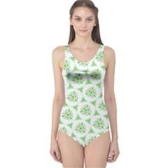 Sweet Doodle Pattern Green Women s One Piece Swimsuits