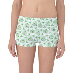 Sweet Doodle Pattern Green Reversible Boyleg Bikini Bottoms