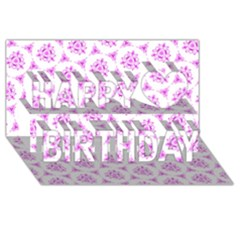 Sweet Doodle Pattern Pink Happy Birthday 3D Greeting Card (8x4)