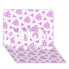 Sweet Doodle Pattern Pink GIRL 3D Greeting Card (7x5)