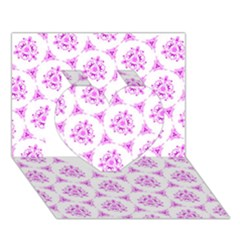 Sweet Doodle Pattern Pink Heart 3D Greeting Card (7x5)