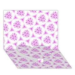 Sweet Doodle Pattern Pink Heart Bottom 3D Greeting Card (7x5)