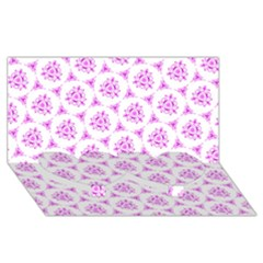Sweet Doodle Pattern Pink Twin Heart Bottom 3d Greeting Card (8x4)