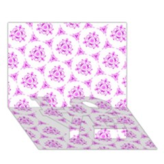 Sweet Doodle Pattern Pink LOVE Bottom 3D Greeting Card (7x5)