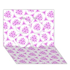 Sweet Doodle Pattern Pink Clover 3D Greeting Card (7x5)