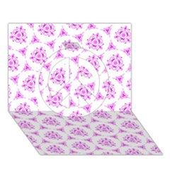 Sweet Doodle Pattern Pink Peace Sign 3D Greeting Card (7x5)
