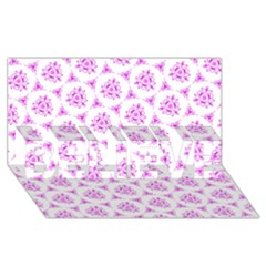 Sweet Doodle Pattern Pink BELIEVE 3D Greeting Card (8x4)