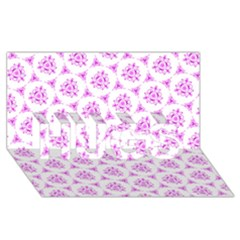 Sweet Doodle Pattern Pink HUGS 3D Greeting Card (8x4)