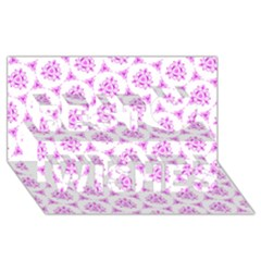 Sweet Doodle Pattern Pink Best Wish 3D Greeting Card (8x4)