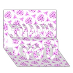 Sweet Doodle Pattern Pink THANK YOU 3D Greeting Card (7x5)