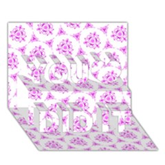 Sweet Doodle Pattern Pink You Did It 3d Greeting Card (7x5)