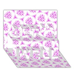 Sweet Doodle Pattern Pink Get Well 3D Greeting Card (7x5)