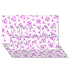 Sweet Doodle Pattern Pink Merry Xmas 3D Greeting Card (8x4)