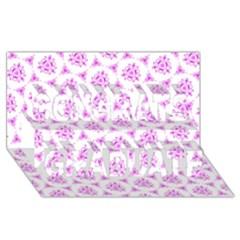 Sweet Doodle Pattern Pink Congrats Graduate 3D Greeting Card (8x4)