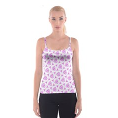 Sweet Doodle Pattern Pink Spaghetti Strap Tops