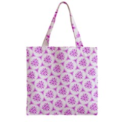 Sweet Doodle Pattern Pink Zipper Grocery Tote Bags