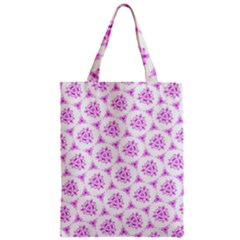 Sweet Doodle Pattern Pink Zipper Classic Tote Bags