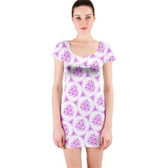 Sweet Doodle Pattern Pink Short Sleeve Bodycon Dresses