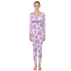 Sweet Doodle Pattern Pink Long Sleeve Catsuit