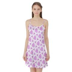 Sweet Doodle Pattern Pink Satin Night Slip