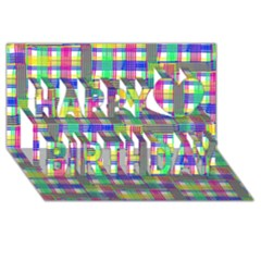 Doodle Pattern Freedom  Happy Birthday 3D Greeting Card (8x4)