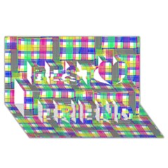 Doodle Pattern Freedom  Best Friends 3D Greeting Card (8x4)