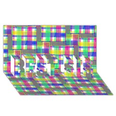 Doodle Pattern Freedom  Best Sis 3d Greeting Card (8x4)