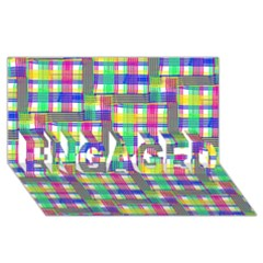 Doodle Pattern Freedom  ENGAGED 3D Greeting Card (8x4)