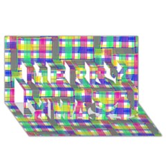 Doodle Pattern Freedom  Merry Xmas 3d Greeting Card (8x4)