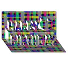 Doodle Pattern Freedom Black Happy Birthday 3D Greeting Card (8x4)
