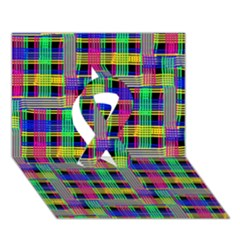 Doodle Pattern Freedom Black Ribbon 3d Greeting Card (7x5)