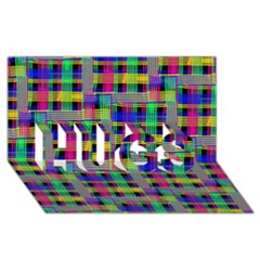Doodle Pattern Freedom Black Hugs 3d Greeting Card (8x4)