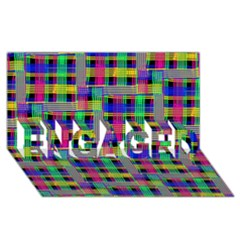 Doodle Pattern Freedom Black ENGAGED 3D Greeting Card (8x4)